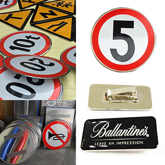 UV screen printing metallic stainless steel aluminum signs and signboard with UV screen printing